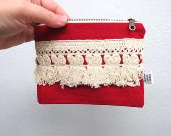 Linen Lace clutch SMALL  - ELLIE in red - tassles vintage cotton lace, linen cosmetic bag, passport case clutch zipper pouch