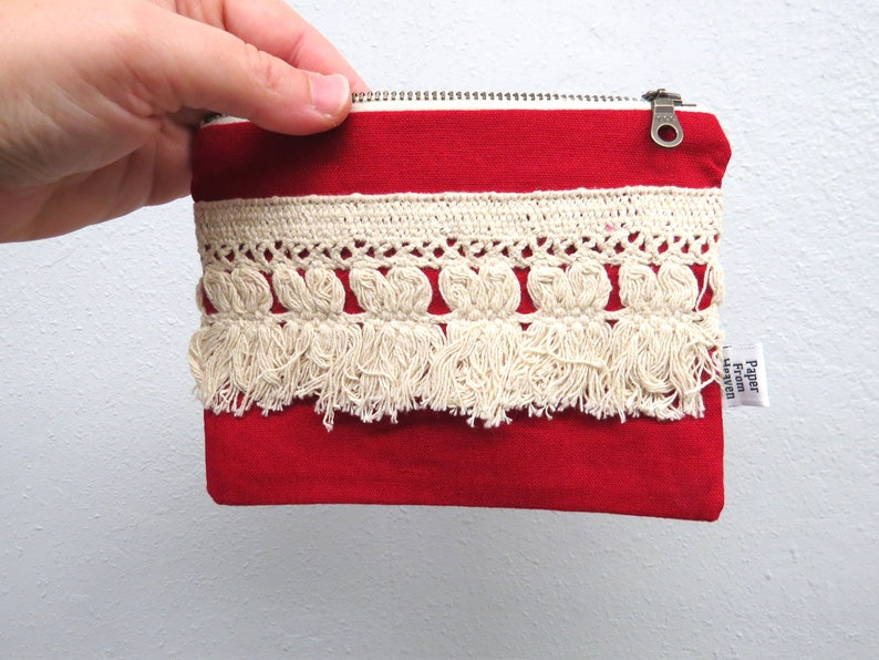 Linen Lace clutch SMALL   ELLIE in red  tassles vintage image 0
