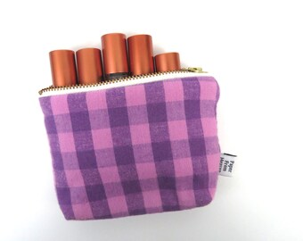 Zipper Pouch ITY-BITY - plaid purple - mini change pouch essential oil bag coin purse Zip Wallet Money Wallet Change Purse Gift Card Holder