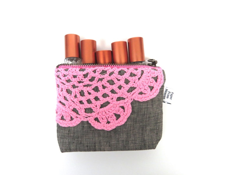 Zipper Pouch ITY-BITY Doily mini change pouch essential oil bag coin purse Zip Wallet Money Wallet Rollerball bag