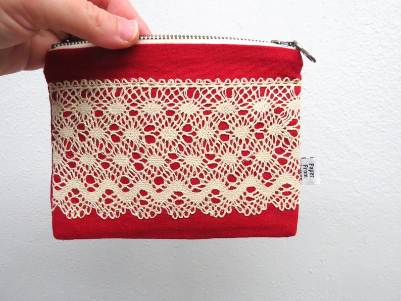 Linen Lace clutch SMALL  red  tassles vintage cotton lace image 0