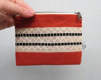 Linen Lace clutch SMALL - burnt orange - vintage cotton lace, linen cosmetic bag, passport case clutch zipper pouch