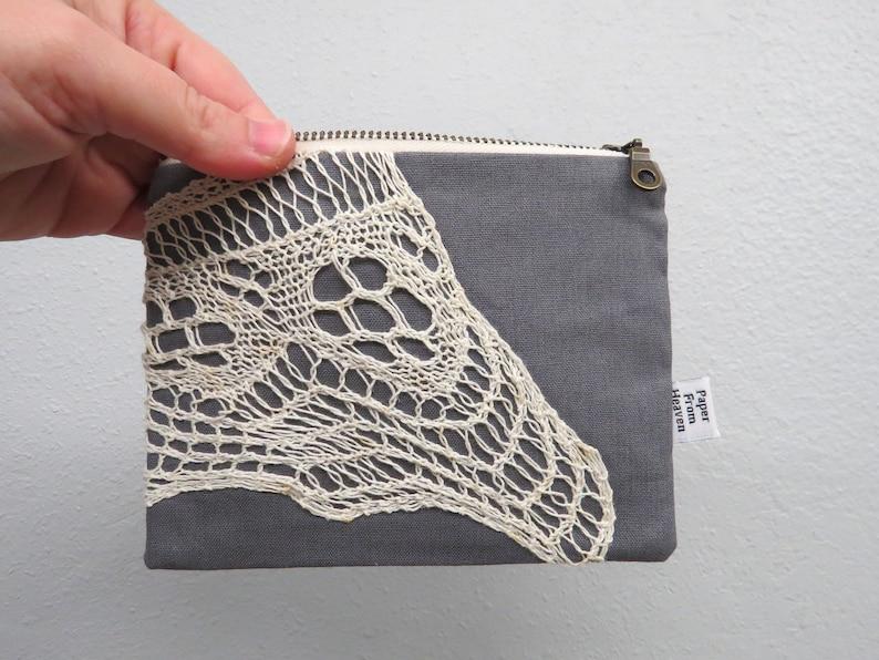 Linen Lace clutch SMALL  grey gray  vintage cotton lace image 0