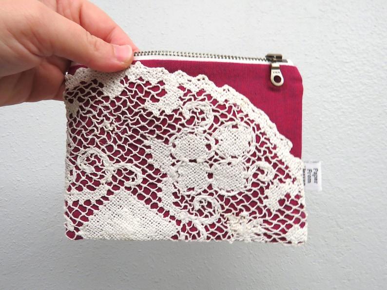 Linen Lace clutch SMALL  berry  doily vintage cotton lace image 0