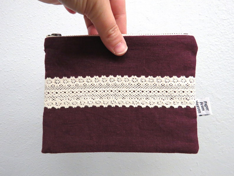 Linen Lace clutch SMALL   HANNAH in Eggplant  vintage cotton image 0
