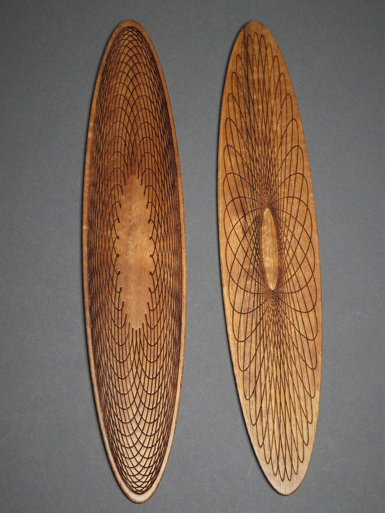 Engraved Wood Bookmark with Geometric Spiro Design Koa