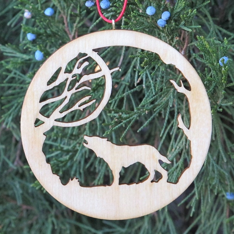 Set of 5 Rocky Mountain Themed Wooden Christmas Ornaments image 0