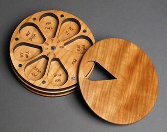 7 Day AM/PM Wood Pill Box, Compact Pill Organizer, Weekly Morning and Night Pill Storage, Original Design