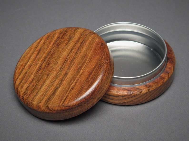 Wood and Steel Pill Box Great for Pocket or Purse image 0