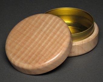 Large Wood and Steel Pill Box, 2 ounce capacity