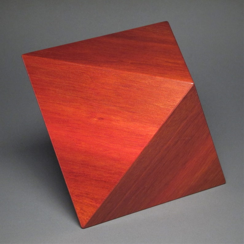 Wooden Urn for Ashes up to 150 pound loved one Octahedron image 0