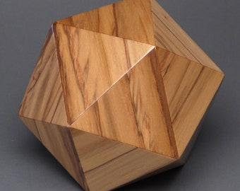 Geometric Wood Cremation Urn, for Pets and small Humans up to 65 pounds