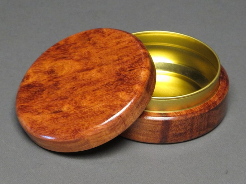 Large Wood and Steel Pill Box 2 ounce capacity image 0