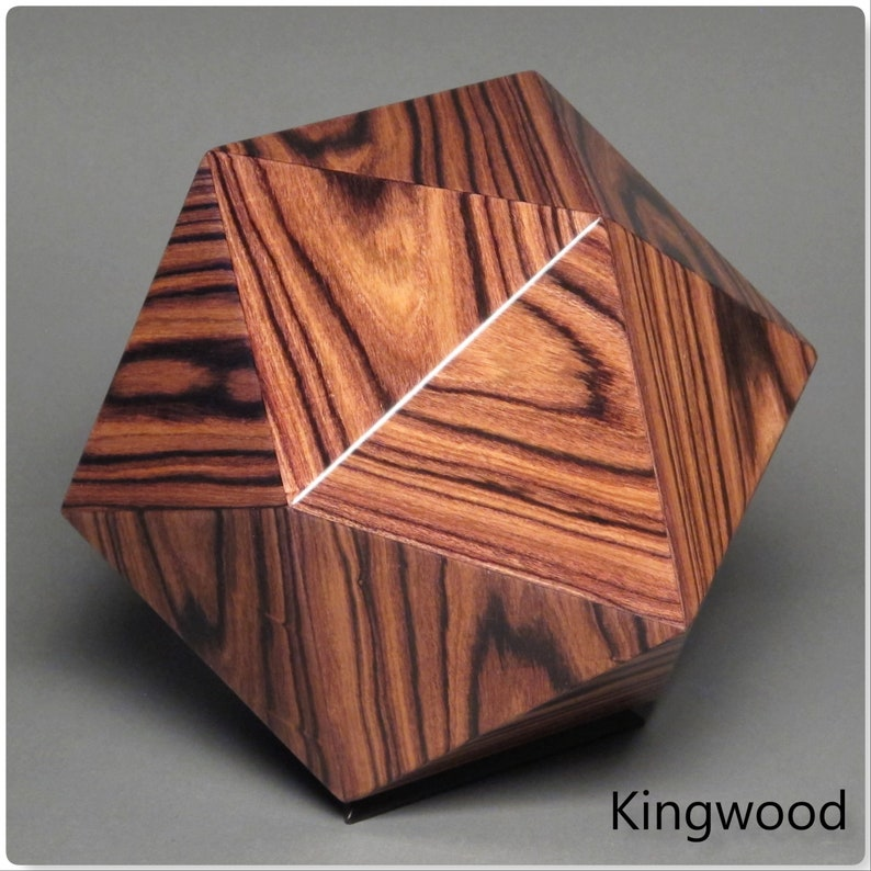 Exotic Wood Cremation Urn for a Small Human or Pet up to 125 Kingwood
