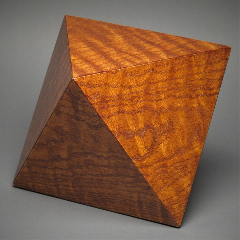 Unique Geometric Urn for Adult Human Cremains up to 225 pound Curly Red Oak