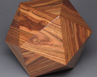 Exotic Wood Cremation Urn for a Small Human or Pet up to 125 pounds, Geometric Icosahedron