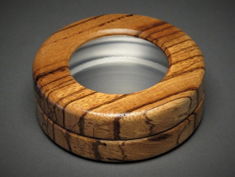 Exotic Wood and Aluminum Trinket Box See-through Top with Zebrawood
