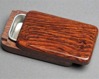 Wood and Steel Pill Box, Secure Slide Open Lid