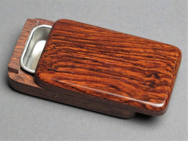 Wood and Steel Pill Box Secure Slide Open Lid image 0