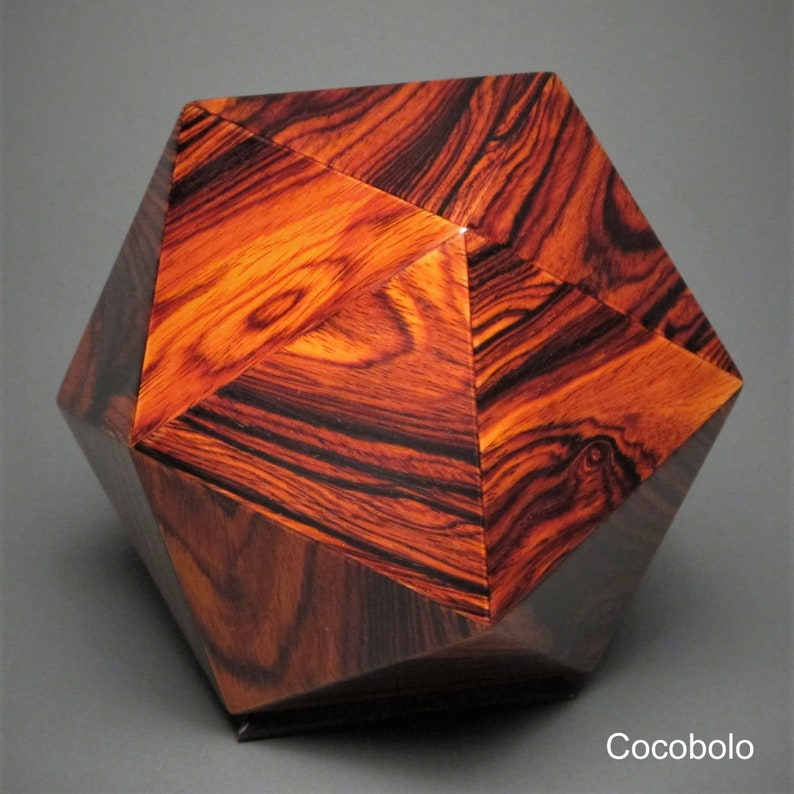 Geometric Wood Cremation Urn for Pets and small Humans up to Cocobolo