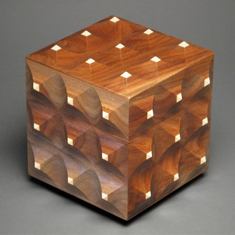 Sculpted Wooden Box with Hidden Compartment 'The Pinnacle walnut