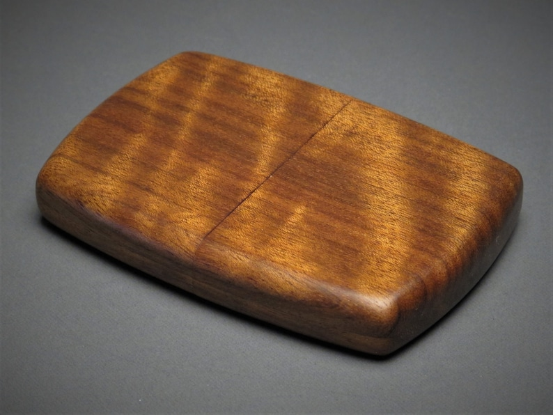Personalized Wooden Wallet or Business Card Case made from Curly Paldao