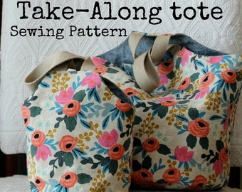 5ff68303049 Take-Along Tote Reversible Knitting Project Bag PDF Sewing Pattern