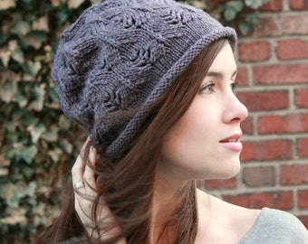 Pdf knitting pattern for slouchy lace hat