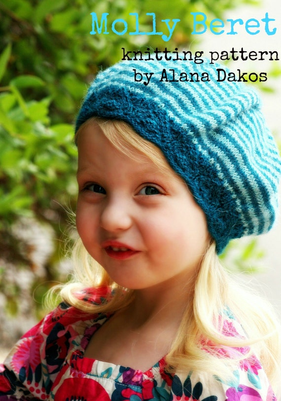 Pdf Knitting Pattern For Striped Beret For Women And Children Etsy