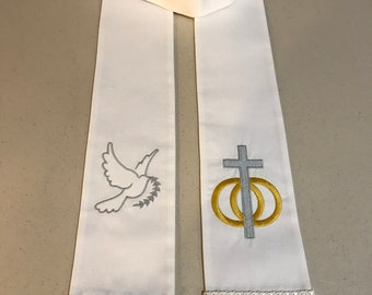 Clergy Ministry visitation stoles  Flowered cross  white fringe Cross with Peace and faith design your stole