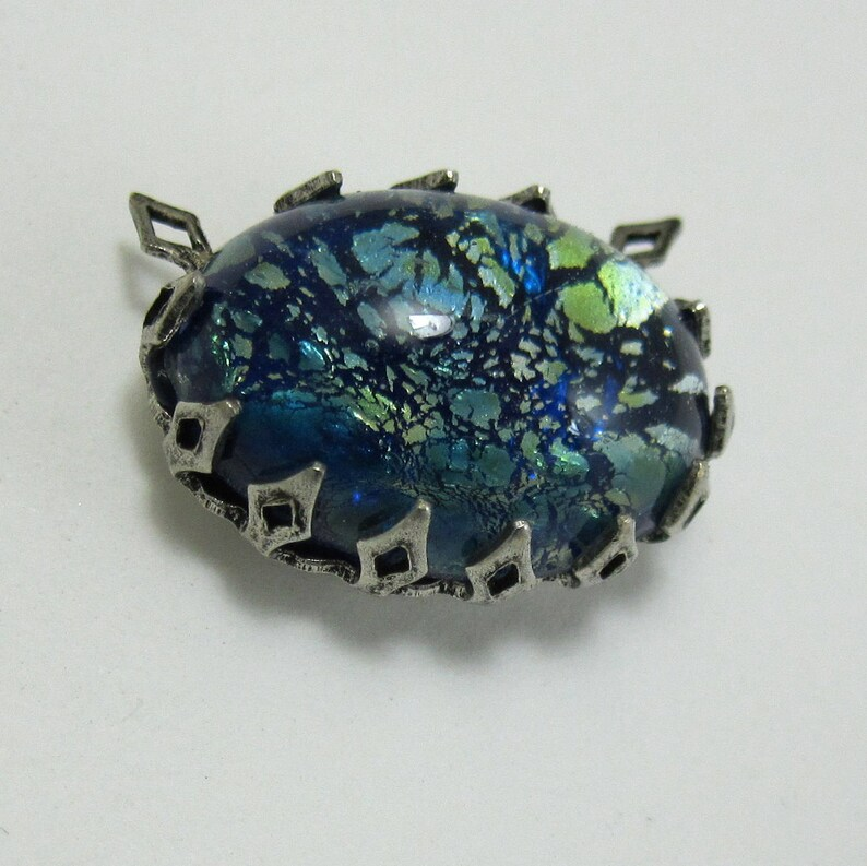 Blue  Opal Vintage Glass Cabachon in Antique Silver setting Bead D-31