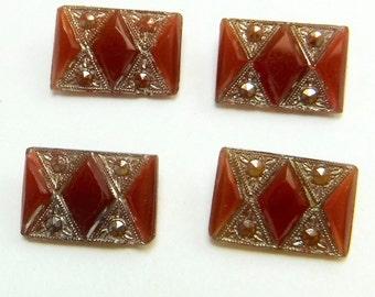 Art Deco Glass Cabochon Faceted Rare Vintage Carnelian Markasite Stones 4 pcs S-425