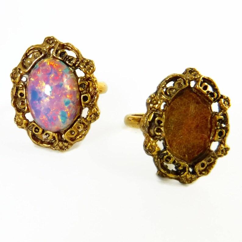 2 pcs Gold Ring Blanks 14x10 Adjustable Vintage Antique Gold Ring Form R-6