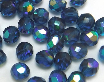 50 pcs 8mm Glass Beads Teal Blue AB Round Faceted Czech Fire polished B-49