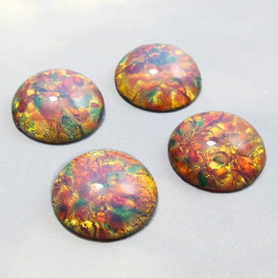 Beads & Jewellelry Making Supplies 24pcs Glass Cabochon Retro Pattern Aqua Base Round 12mm Jewellery Making Cabochons