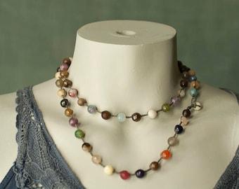 Crochet Gemstone Agate Necklace
