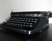 FREE SHIPPING.  Antique Black and Chrome Manual Royal Typewriter.  1936.  Great Find.