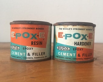 Vintage Epoxe Hardener and Resin Wpoxy Cans. Duro Plastic. The Woodhill Chemical Corp. Cleveland, OH