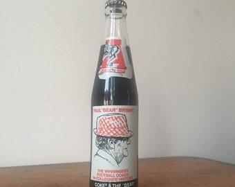 Vintage Unopened Coca Cola Bottle Featuring Paul Bear Bryant. Crimson Tide.