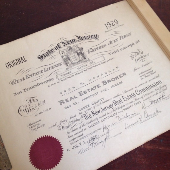 Antique 1929 New Jersey Real Estate License. Office Wall