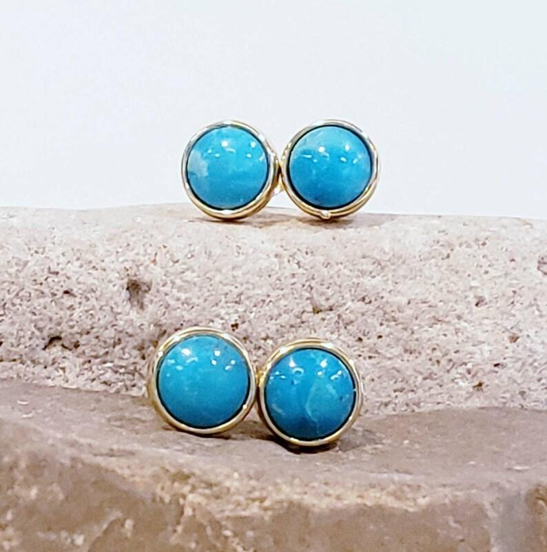 GENUINE TURQUOISE!! Round Polished Turquoise Stud Earrings Bezel Set 9mm Gold Electroplated HardRoxx Jewelry