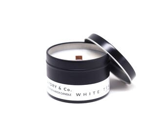 Mini White Tea Wooden Wick Tin Candle
