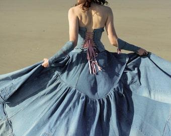 denim wedding dress etsy