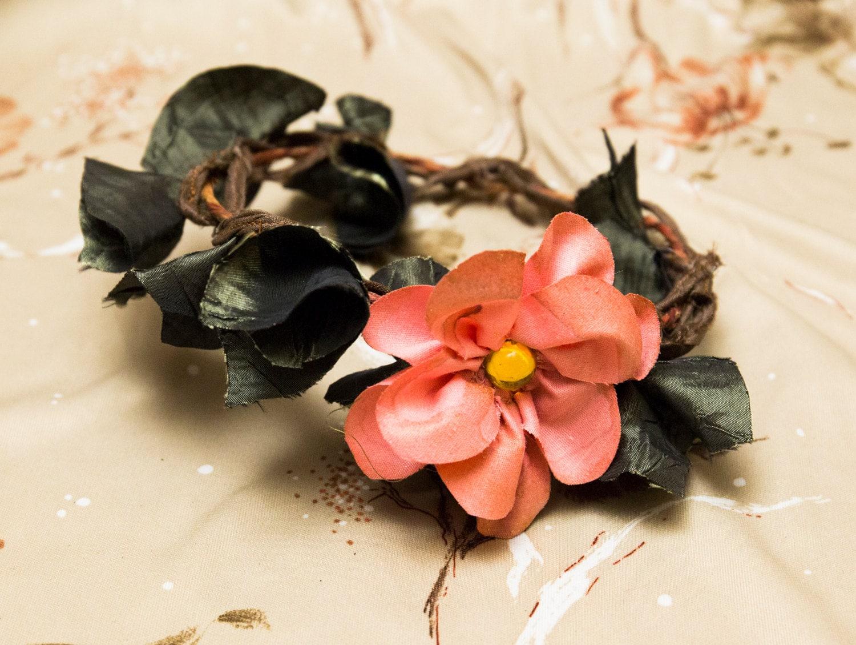 Sale Pink Flower Crown Gold Leaves Halo Headband Circlet Etsy