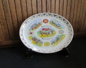 Pennsylvania Dutch Country Souvenir Plate Amish Buggy Plate with Hex Signs - Vintage Collectible Plate - Pennsylvania State Souvenir