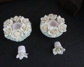 Flower Basket Candle Holders for Taper Candles with Removable Flower Plugs Vintage Taper Candleholders - Antique Porcelain