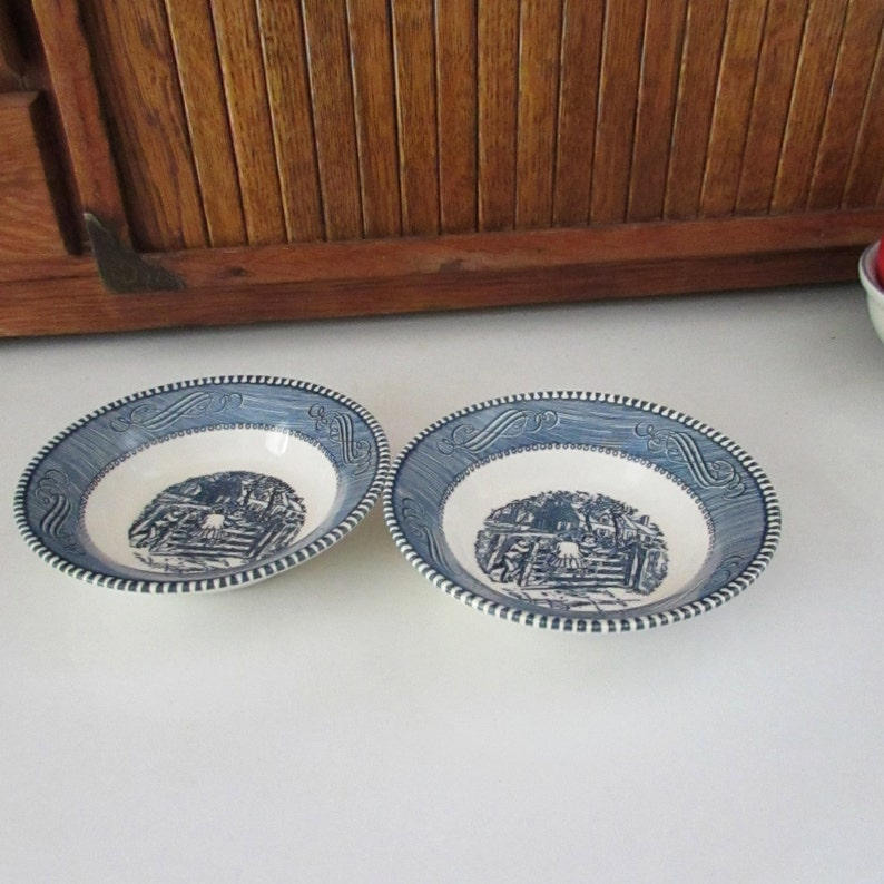 Set of 2 Dessert Berry Bowls Vintage Dinnerware Set by Royal China Co Blue /& White Dishes Currier and Ives Berry Bowls \u2013 Old Farm Gate