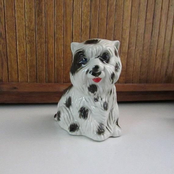 Solid Brass Amber Figurine Yorkshire Shaggy Terrier dog