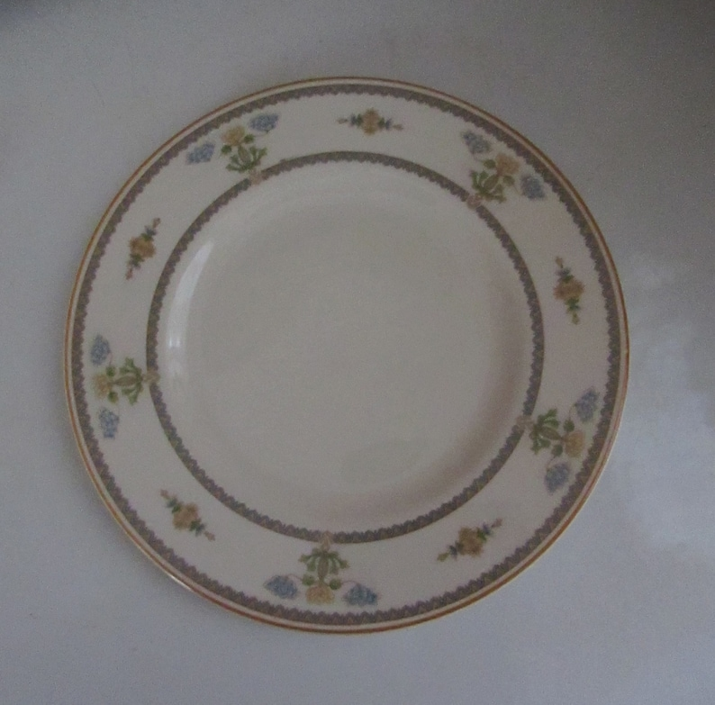 Blue /& Yellow Floral China with Mustard Yellow Trim \u2013 Old Ivory Vintage Dinnerware \u2013 Discontinued Pattern Syracuse China Salad Plate