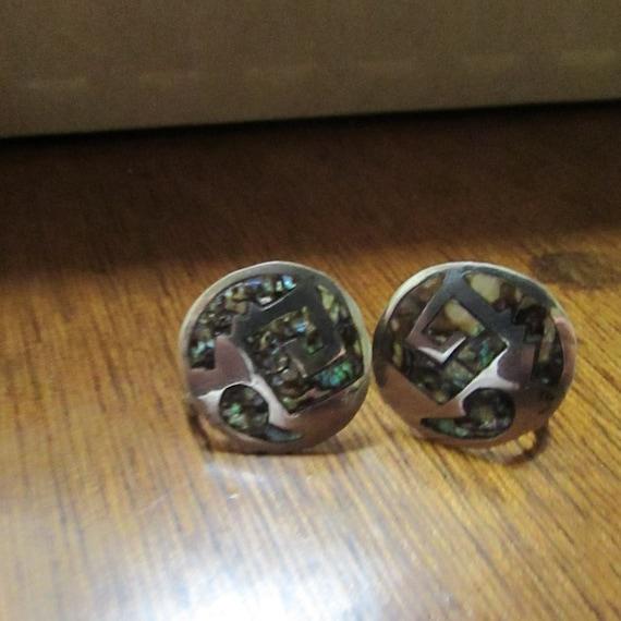 Abalone Geometric Disc Screw Back Earrings –Abalon